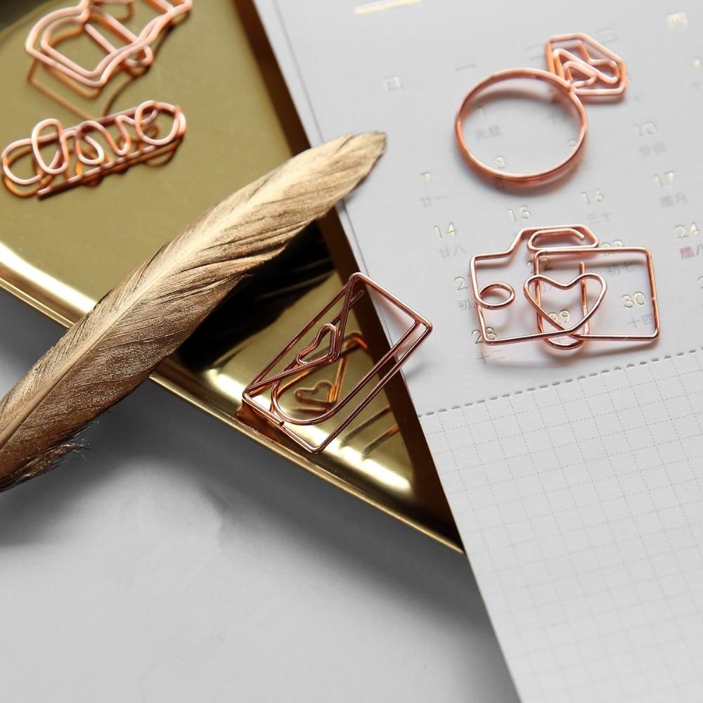 TUTU Free Shipping Rose Gold Paper Clips Bookmark Planner Tools Scrapbooking Tools Memo Clip Metal Binder Paperclip H0137