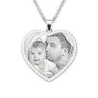 Sterling Silver Custom Photo Necklace Personalized Photo Engraved Heart Birthstones Necklace Memorial Gift For Her