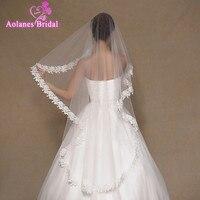 En Stock Alta Calidad Barata Corta 1.5 M Velos de Novia Blanco Una Capa de Encaje Edge Bridal VeilsWedding Accesorios