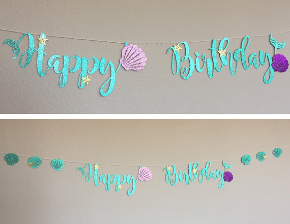 Mermaid Party Decoration Glitter Cardboard Blue Letter Garland HAPPY