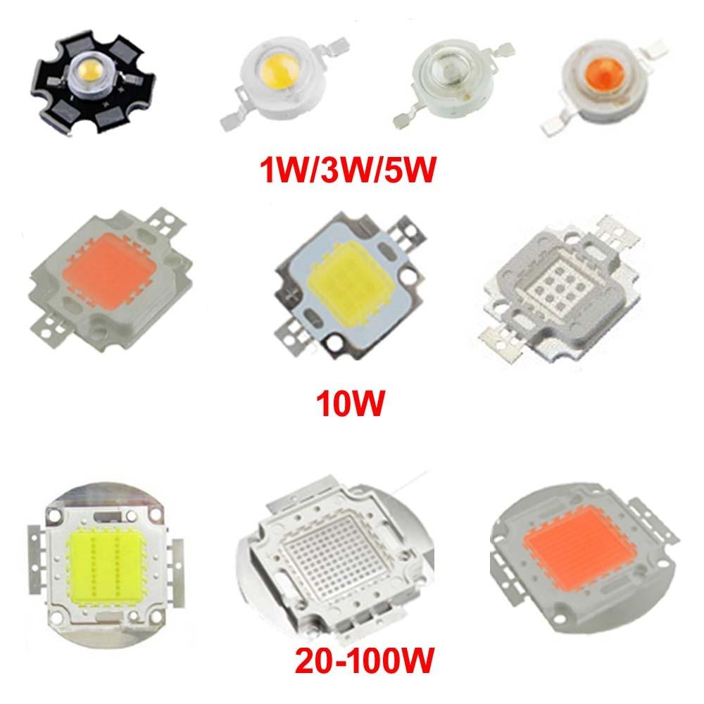 Chip de led de alta potência, 1w 3w 5w 10w 20w 30w 50w 100 w cob smd led contas branca rgb uv crescimento, espectro completo 1 3 5 10 20 30 50 100 w w