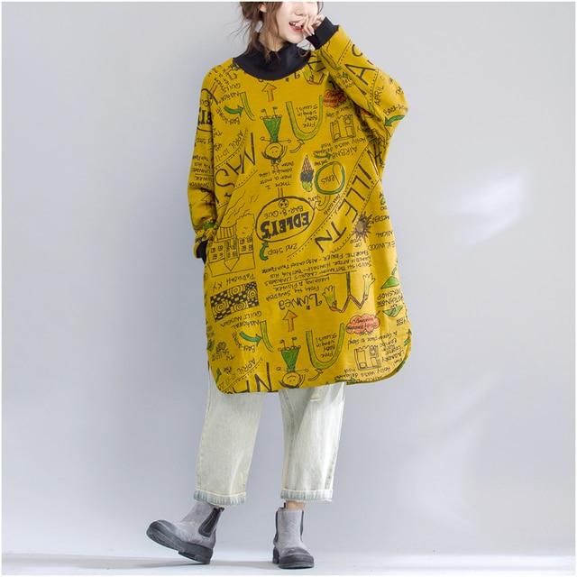 Plus Size Autumn Winter Thickening Long Sweatshirt Dress Ladies Female Vintage Loose Turltleneck Letter Print Sweatshirt Tops 1