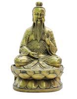 Китайский даосизм Бронзовый молиться тайшан старший Laojun Бог держать даосский Багуа статуя