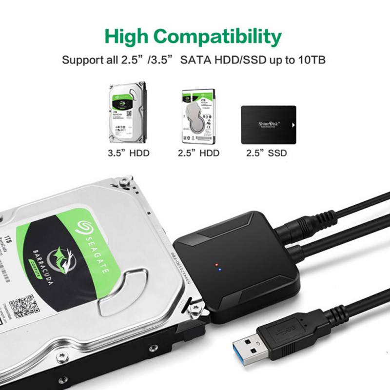 High Compatibility USB 3.0 2.0 To SATA5/3/1.5 Cable Converter For 3.5 2.5HDD SSD Hard Disk Drive USB Sata Adapter SD