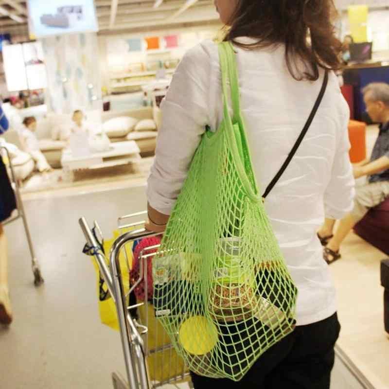 5 色綿魚ネットショッピングバッグポータブル果物野菜収納バスケットメッシュバッグホームおもちゃコンテナオーガナイザードロップシップ