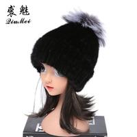 2018 Baby Real Fur Caps Children Knitted Winter Hats Real Fox Fur Pompom Boy Hat Kids Thick Warm Winter Beanies Mink Fur Hat