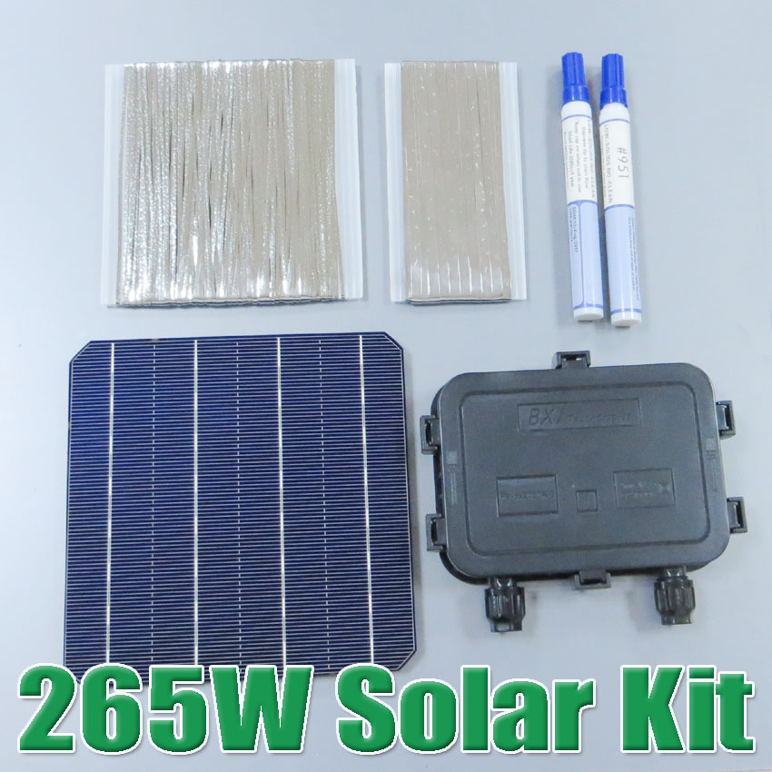 hot sale 265W DIY Solar Panel Kit 6x6 156 Monocrystalline Mono solar cell tab wire Bus wire Flux pen Junction Box WY 2016 hot sale 250w solar panel 36v