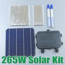 Vente chaude 265 W BRICOLAGE Panneau Solaire Kit 6×6 156 Monocristallin Mono cellule solaire tab fil Bus fil Flux stylo Boîte de Jonction WY