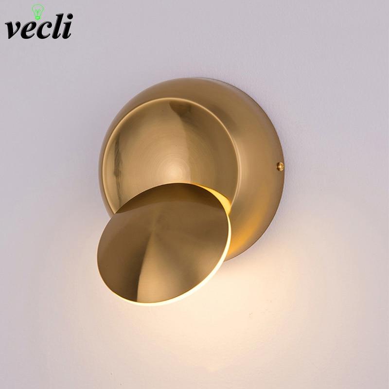 5 w led lampada de parede ouro criativo redondo rotatable cabeceira lampada parede ac90 260v moderno