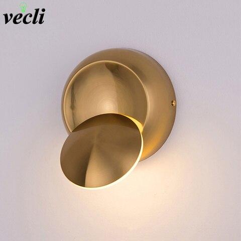 5 w led lampada de parede ouro criativo redondo rotatable cabeceira lampada parede ac90 260v