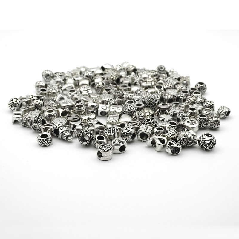 Aleatoriamente Mista Contas Fit Pandora Encantos de Prata Antigo do Metal de Liga de Zinco Encantos DIY Spacer Beads & Jewelry Making 30 pçs/lote