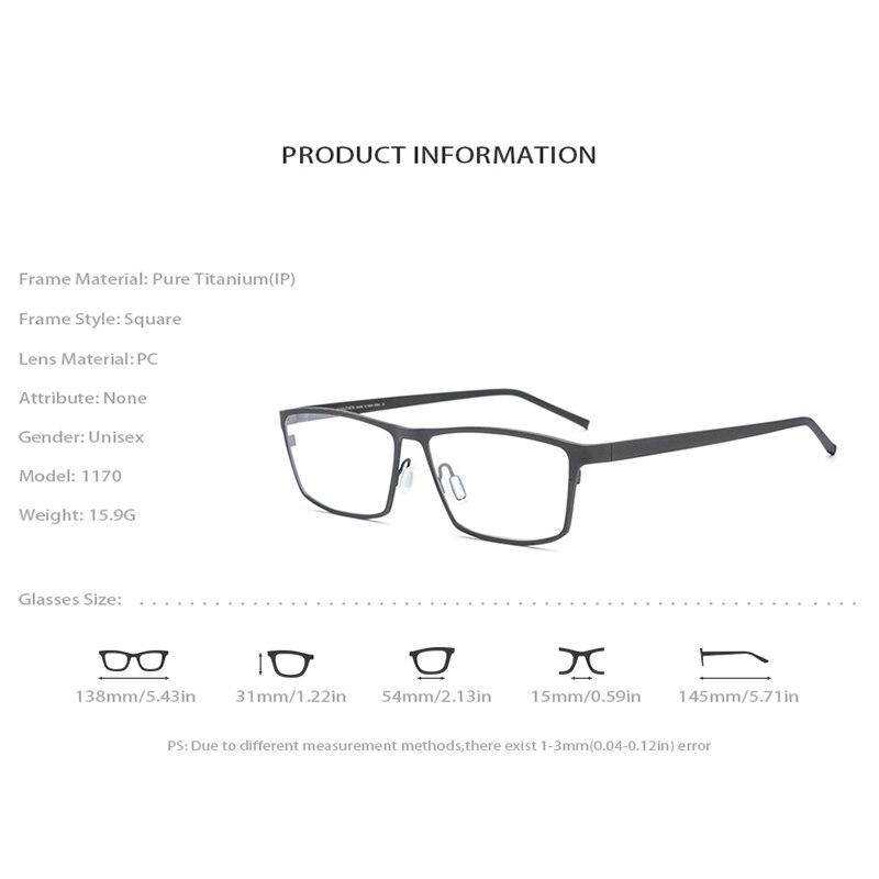 Titane pur lunettes cadre hommes carré myopie cadres optiques lunettes pour hommes Vintage Ultra léger lunettes lunettes 1170 - 4