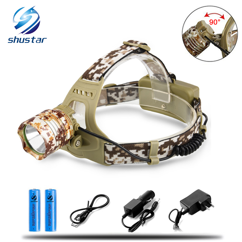 CREE 3800LM XM-T6 Led Headlamp Headlight Camouflage led Head Lamp Rechargeable Lantern Lamp Camping Hiking Fishing Light hot waterproof t6 led headlight headlamp for camping hiking rechargeable head lamp light zoomable 4 mode adjust focus light