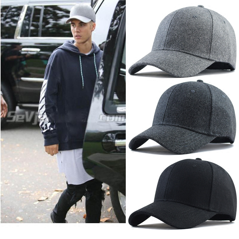 Us 179 Men Big Head Baseball Capblackgray Color Adult Peaked Cap With Large Size Circumference 56 68cm Wool Hip Hop Hat In Mens Baseball Caps