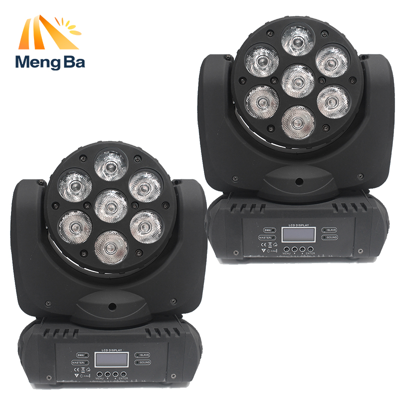 MengBa 2pcs/lot 7*12w RGBW Led Beam Moving Head Light 100v-240v Professional Stage Dj /Bar/Home Entertainment Lighting EffectMengBa 2pcs/lot 7*12w RGBW Led Beam Moving Head Light 100v-240v Professional Stage Dj /Bar/Home Entertainment Lighting Effect