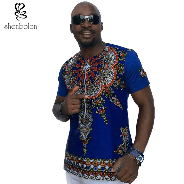 2017 Mens African Clothing Dashiki Style Cotton Stitching Wax Printing Tops Man T Shirt Clothes