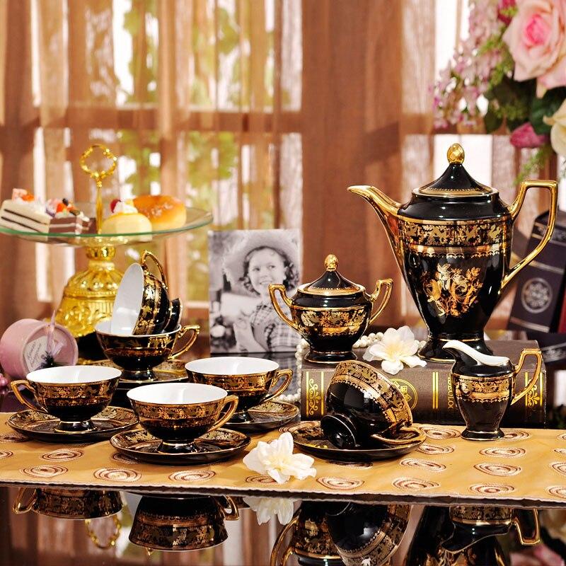 15 pièces ensemble de thé à café en porcelaine de luxe européen ensemble de thé à café en céramique peinte en or ensemble de tasse et soucoupe à café de mode