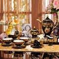 15 stücke set Europäischen luxus knochen china kaffee tee-set gold bemalt keramik mode kaffee tee tasse und untertasse set