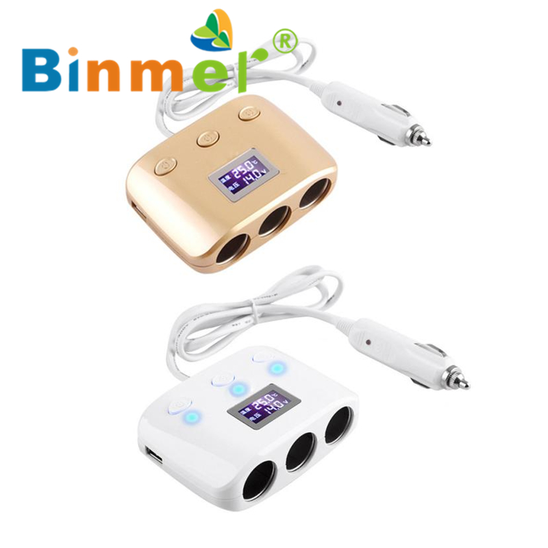 3-Socket Car Cigarette Lighter Charger with LCD Display and 2 USB Ports In-car _KXL0302