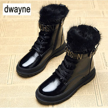 Hot Sale New 2018 Microfiber Leather Women Boots Lace Up Martin Boots Women Ankle Fur Boots Brand Winter Warm Women Shoes