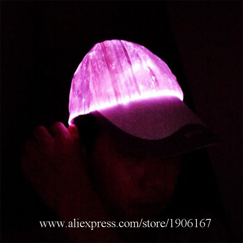 New led fiber 7 color light hat Bar music festival Judi night light hat Fashion light hat04