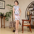 Elegance Short Women Cotton Chinese Cheongsam Dress Silk Female Evening Party Mini Qipao Dress Chinese Traditional Dress 89