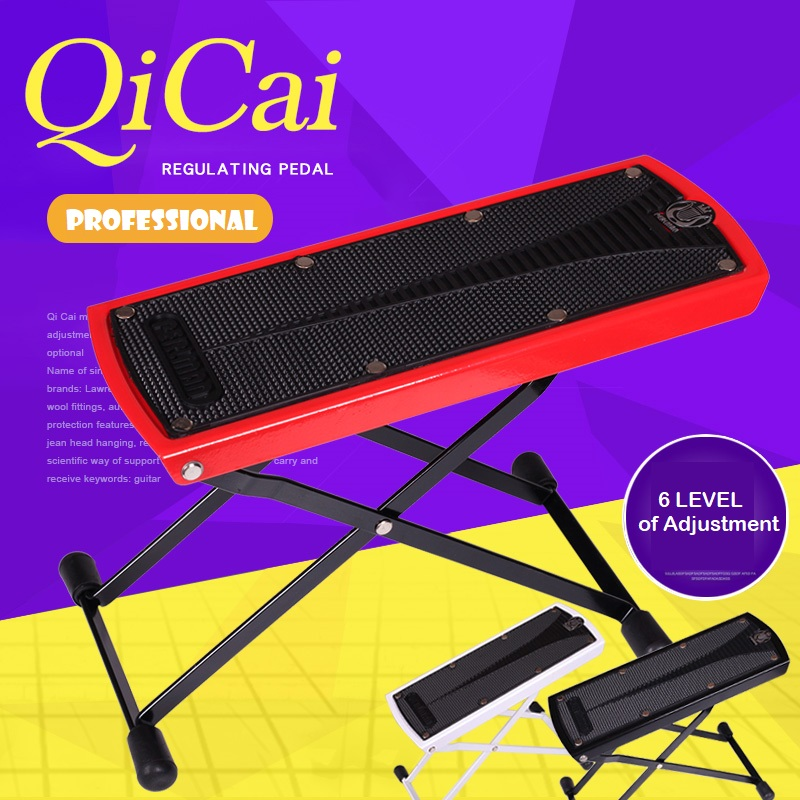 QiCai High Quality Guitar Player Adjustable Footrest Foot Stole With 6 Level Of Height Adjustments
