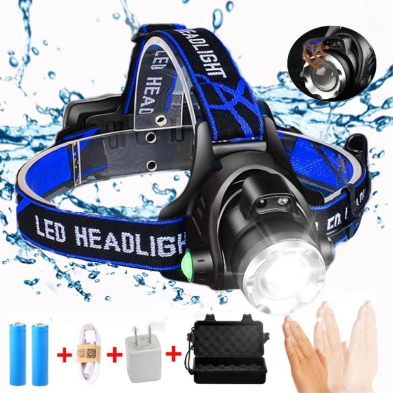 8000LM LED Scheinwerfer T6/L2/V6 Zoomable Kopf lampe Taschenlampe Scheinwerfer Lanterna Mit LED Körper Motion Sensor für Camping