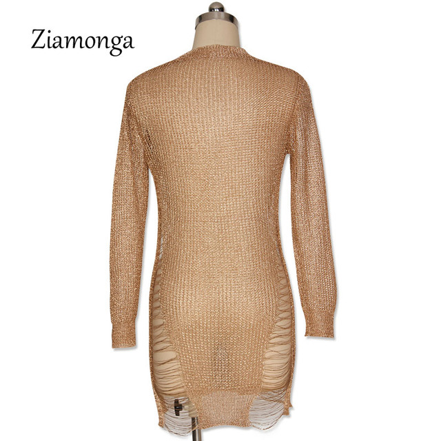 Ziamonga Gold Metallic Knitted Shredded Sweater Dress Popular Stretch Sexy Ladder Cut-Out Metallic Sequins Dress Beach Wear