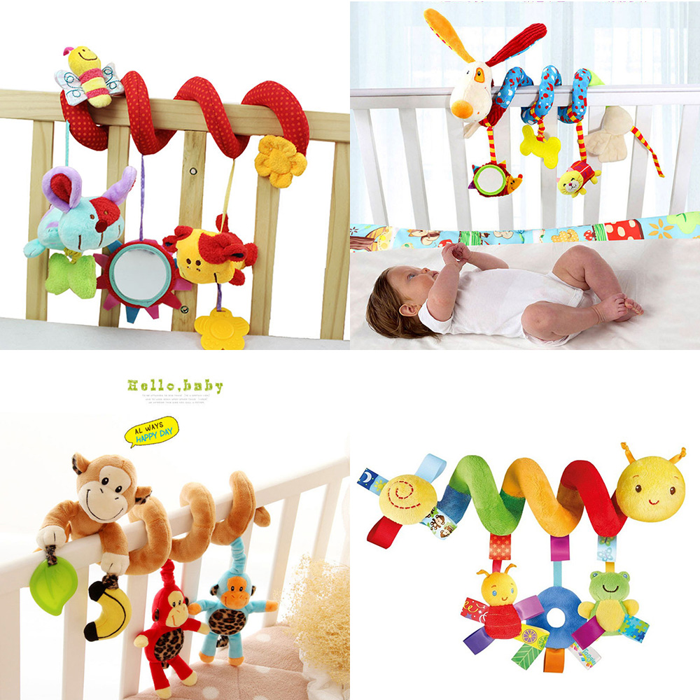 Baby Toys 0-12 Month Infant Stroller/Bed/Cot Crib Hanging Infant Kids Educational Cartoon Animal Pattern Rattles Toy 2016 hot baby infant animal soft rattles bed crib stroller music hanging bell toy dog baby development gifts plush toys