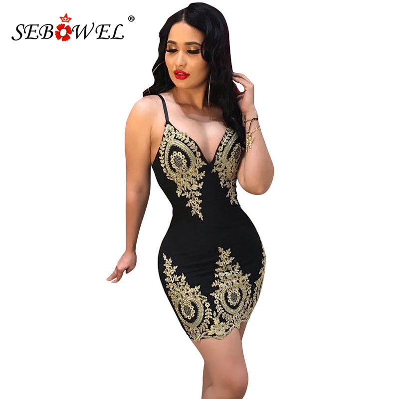 SEBOWEL Sexy Applique Sleeveless Sling Dresses for Woman 2019 Summer Female Low Cut V-neck Curve Bodycon Dress Plus Size S-XXL image