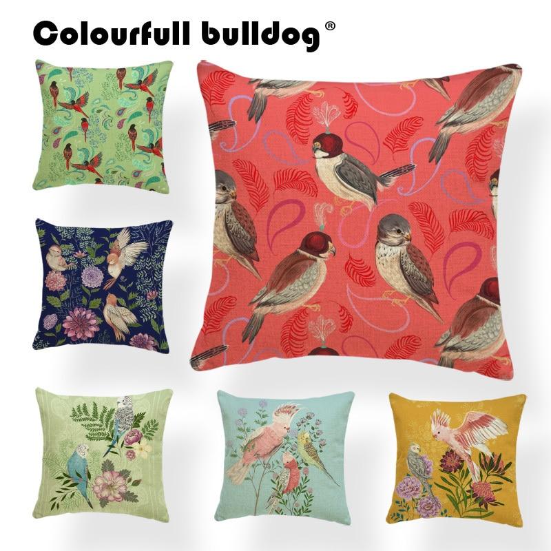 18/'/' Bird Animal Cushion Cover Pillow Case Cotton Flax Sofa Vintage Flower Decor