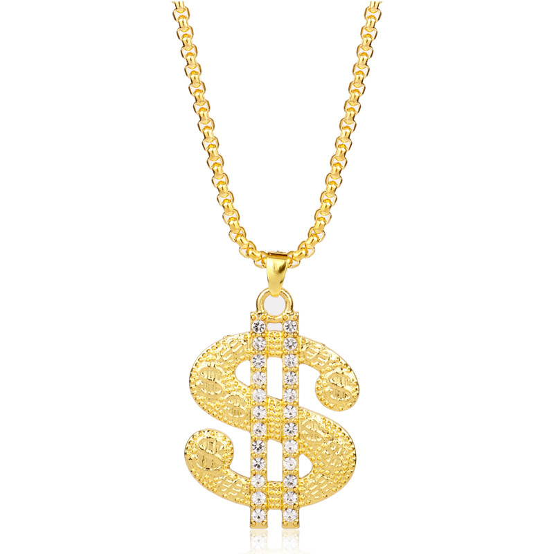 Hiphop Jewelry dollar sign Pendant Necklace Shiny Rhinestones Charms Necklaces for Man B ...