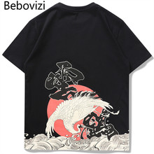 Bebovizi 2019 Japanese Streetwear Ukiyo-E Crane Wave Print T Shirts Men Harajuku Hip Hop Casual Tees Loose Tshirts High Quality