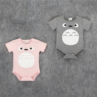 Toddle Baby Triangle Romper Jumpsuit Cotton Cartoon Totoro Summer Newborn Baby Romper Sets Clothes For 0-2T