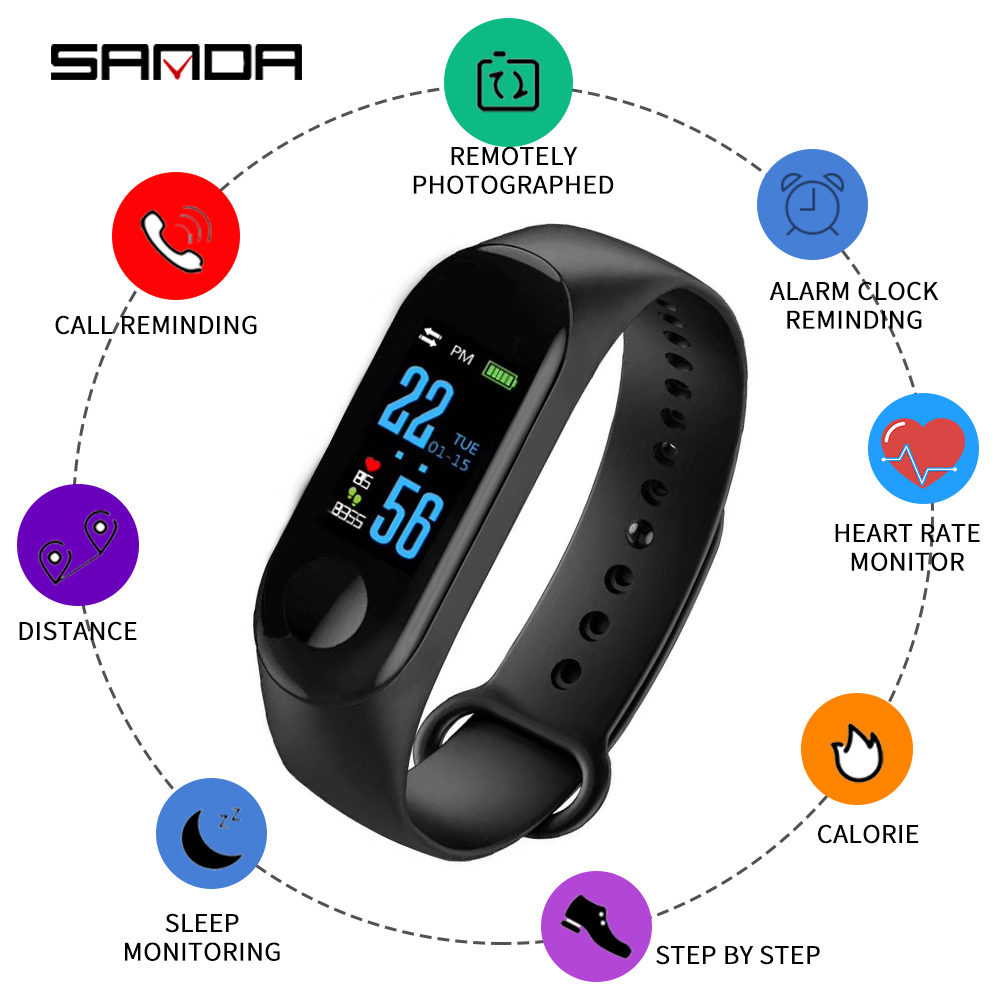 SANDA Smart Watch Men New Sports Smartwatch Women Heart Rate Blood Pressure Monitor Watches Waterproof for IOS Android in Digital Watches from Watches