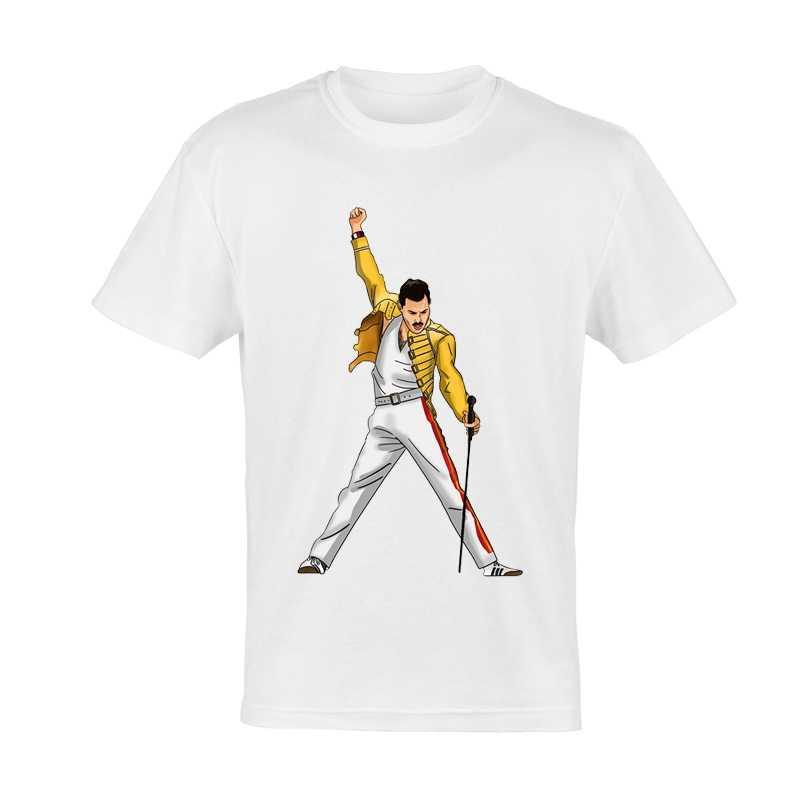מלכת T חולצה לבן צבע Mens אופנה מלכת להקת לוגו פרדי חולצה חולצות Tees יוניסקס פרדי מלכת חולצת טי