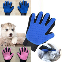 Blue glove for cats Cleaning Brush Finger Silicone animal brush cat pet hair
