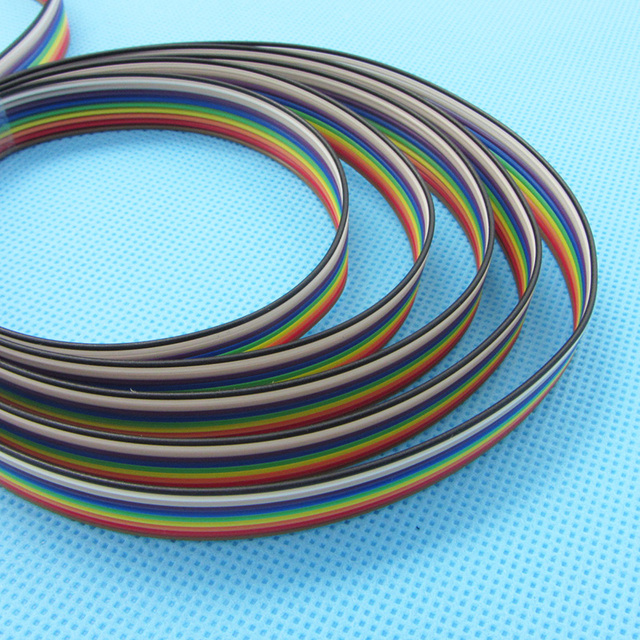 5 meters/lot Ribbon Cable 10 WAY Flat Cable Color Rainbow Ribbon Cable Wire Rainbow Cable 10P 1.27MM Pitch