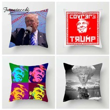 Fuwatacchi Celebrity Portrait Style Cushion Cover Donald Trump Printed Pillow Funny Decorative Pillows For Sofa Car