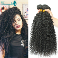 Mongolian Kinky Curly Hair 3Pcs/Lot Human Hair Weaves Extensions Kinky Curly Virgin Hair Natural Black Crochet Hair Extensions
