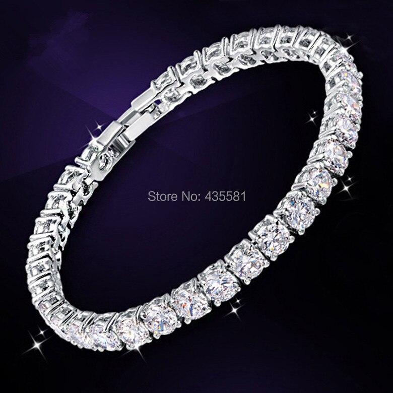 postříbřeno WHITE CZ & Round Zirconia AAA + Tenisový náramek Jewellry Ručně vyráběné 18,3GRAMS bílá barva S26