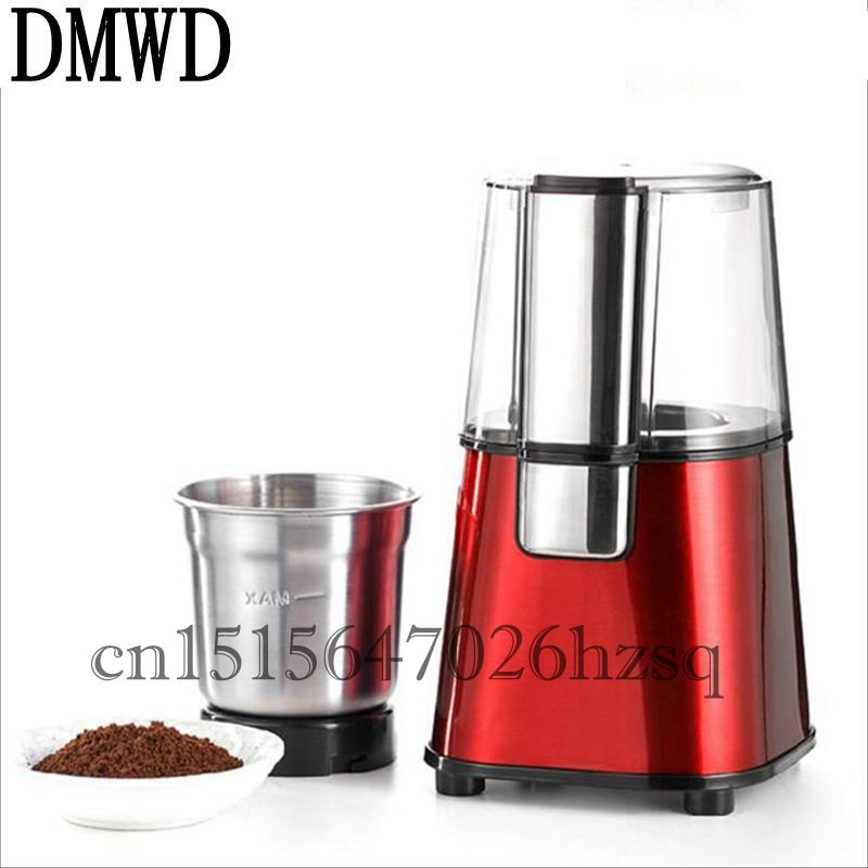 DMWD 180W 60g capacity Household Electric Mini Stainless steel coffee beans Grinder Coffee Beans grinding machine Flour mill coffee grinder electric half pound coffee beans mill grinding machine bean grinder in color black silver red m520 a