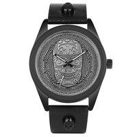Vintage Bronze Antique Simple Black Stainless Steel Case Skull Head Quartz Wrist Watch Father's Day Gift Men Skeleton Relogio