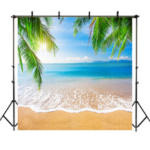 NeoBack Hawaiian Tropical Beach Birthday Party Photography Backdrops Palm Tree Blue Sky White Clouds Booth Backdrop Photo Studio