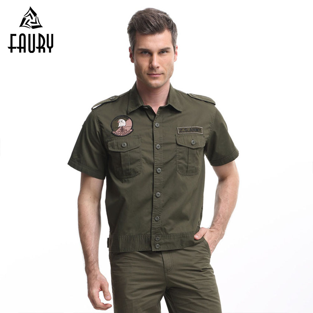 2018 Men Outdoors Tactical Military Uniform Costumes Army Suit Summer Outwear Shirt 101st Airborne Combat Equipment Men Shirt