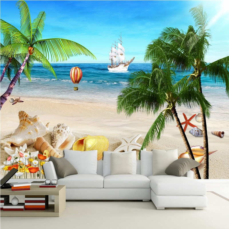 Free Shipping 3D Stereo Island Coconut Grove Beach Background Wall Mural Living Room Restaurant Cafe Lounge Wallpaper