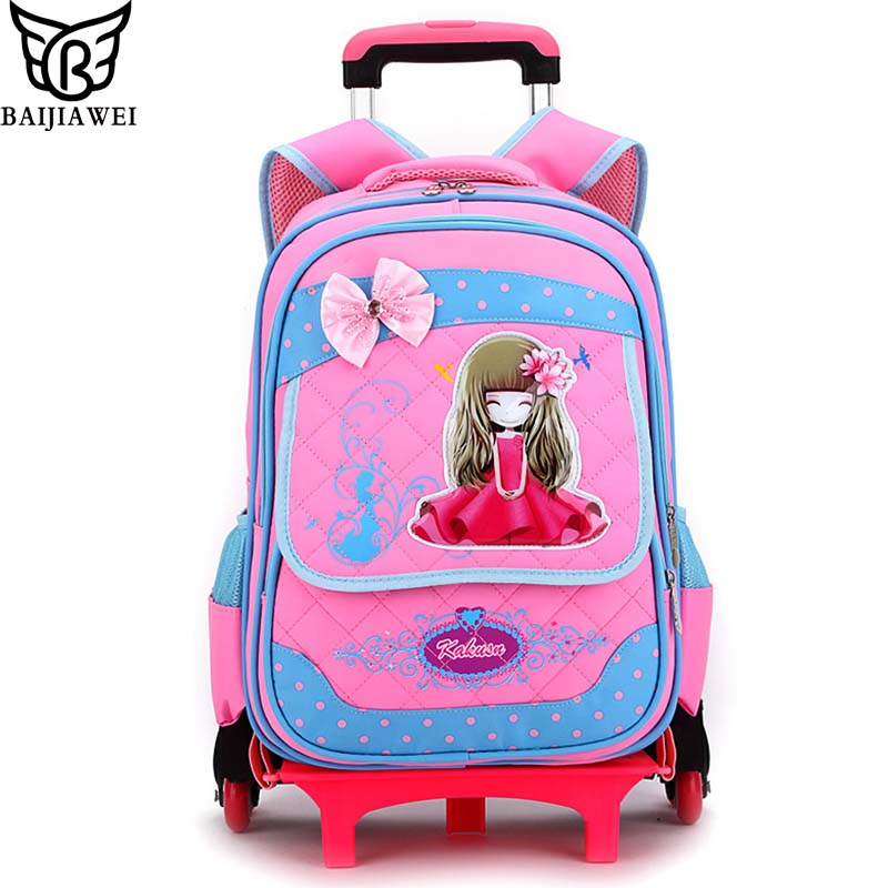 BAIJIAWEI Kid's Removable Trolley Backpack 6 Wheels Children Schoolbag 2-6 Grade Girls Printing Travel Backpack Shoulder Bag backpack nero pantera backpack page 6