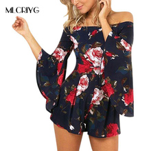 d732835463 MLCRIYG Summer 2018 Floral Print Slash Neck Romper Womens Flare Long Sleeve  Playsuits Beach Overalls Elegant Short Jumpsuit Wom