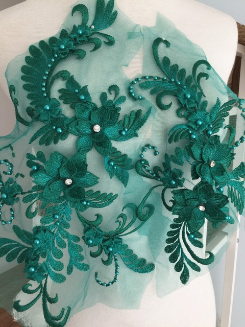 2 Sets 3d Pearl And Rhinestone Beaded Lace Applique Set In Emerald